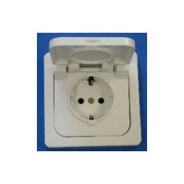 Base enchufe estanco de empotrar con tapa ttl serie ceese 800 ip44 blanco - Enchufe exterior estanco ...